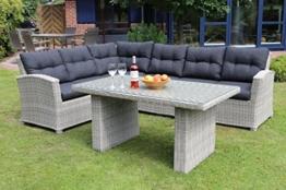 Ecklounge Riviera von Destiny im Garten. Weiß graue Lounge mit Dunkelgrauen Bezügen